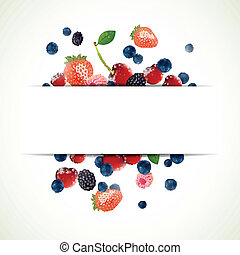 Vector Background with Fresh Berries - Vector Illustration...