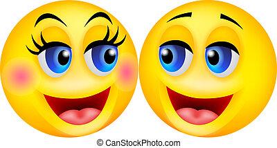 Happy smiley couple cartoon - vector illustration of Happy...