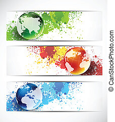 Set of banners with globes. Abstract illustration