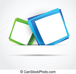 Two squares - Blue and green squares. Abstract illustraiton