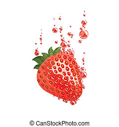 Vector Strawberry Falling in Liquid - Vector Illustration of...