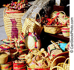 Mexican straw baskets. - Mexican straw baskets sold on the...