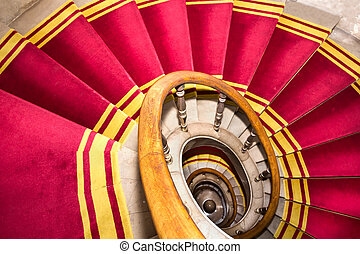 Red carpet. Stairwell in the Polish palace. Royal castle in...