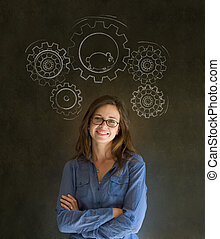 Thinking woman gear cogs hamster - Thinking business woman...