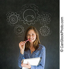Thinking business woman with gear cogs and hamster -...
