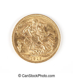 gold Sovereign - famous gold Sovereign Reverse 1915