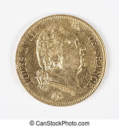 gold coin with Louis XVIII, old french currency