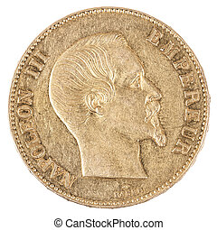 famous gold coin with Napoleon, old french currency