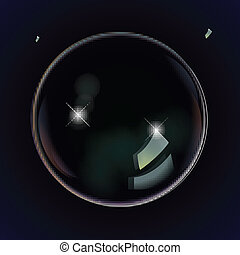 Soap bubbles on a black blue background - Soap bubbles black...