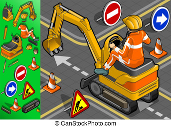 isometric mini excavator with man at work - detailed...