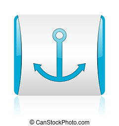 anchor blue and white square web glossy icon
