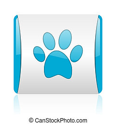animal footprint blue and white square web glossy icon