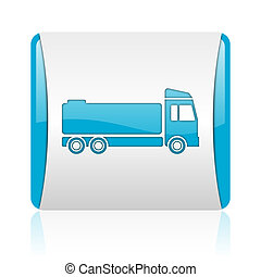 truck blue and white square web glossy icon