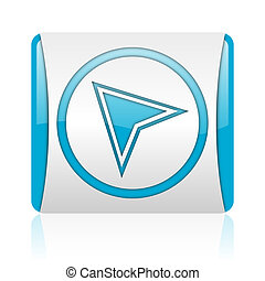 navigation blue and white square web glossy icon