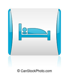 hotel blue and white square web glossy icon