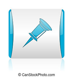 pin blue and white square web glossy icon