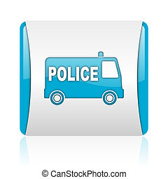 police blue and white square web glossy icon