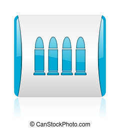 ammunition blue and white square web glossy icon