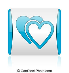love blue and white square web glossy icon