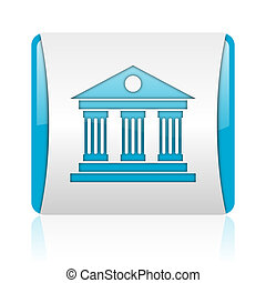 museum blue and white square web glossy icon