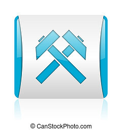 mining blue and white square web glossy icon