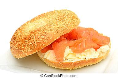 bagel, fumado, salmão, prato