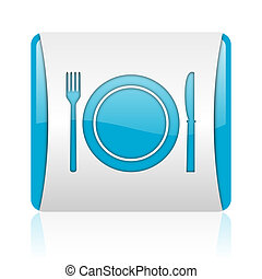 food blue and white square web glossy icon