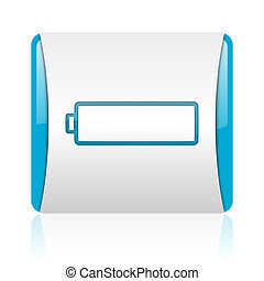 battery blue and white square web glossy icon