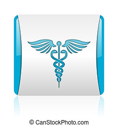 caduceus blue and white square web glossy icon