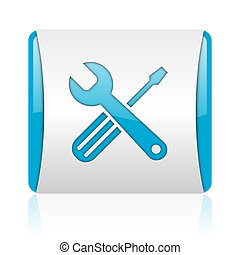 tools blue and white square web glossy icon