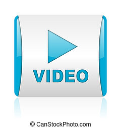 video blue and white square web glossy icon