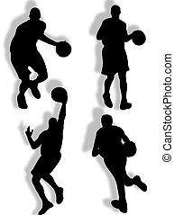 Basketball silhouette - basketball players silhouette in...