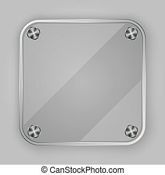 Glass app icon with silver screws,
