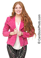 Beautiful Young Woman Smiling and Holding Jacket