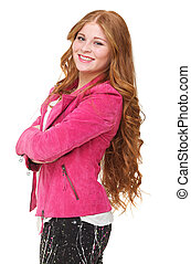 Smilng Young Woman in Pink Jacket