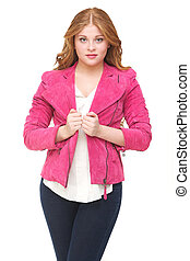 Beautiful Young Woman with Pink Jacket