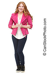 Young Woman Smiling with Pink Jacket