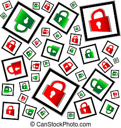 red and green padlocks seamless vector pattern - security concept
