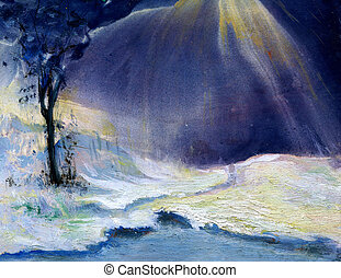 winter - Watercolor painting, created and painted by the...