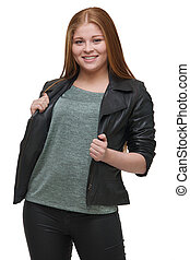 Beautiful Young Woman Holding Black Leather Jacket