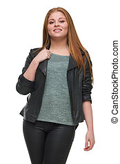 Attractive Young Woman with Black Leather Jacket