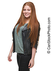 Young Woman Smiling with Leather Jacket