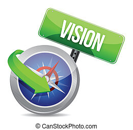 vision on a compass illustration design over white