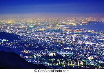 Kansai Skyline - View of several Japanese cities in the...