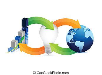 international business idea cycle illustration design over a...