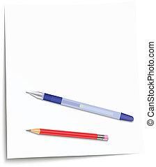Vector illustration of pencil, pen