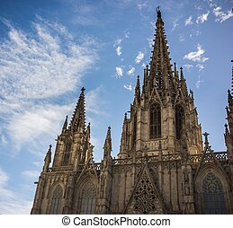 Cathedral of the Holy Cross and Saint Eulalia against blue...