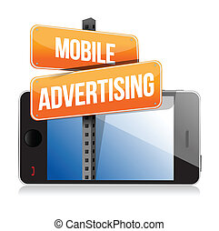 mobile smart phone Mobile advertising sign illustration...