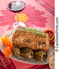 Chine of pork - Roulade of pork on white background