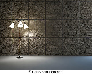 Empty room with lamp near the wall